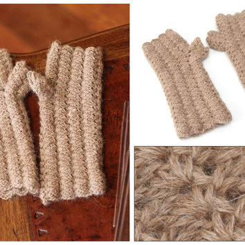100% alpaca fingerless mitts, 'Mocha Winter'