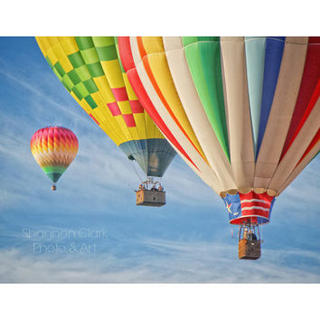 Hot Air Balloon Photography. Colorful Nursery Art. Whimsical. Balloons in Sky. Yellow Orange Blue Red. Children's Room Decor. Wall art. Home