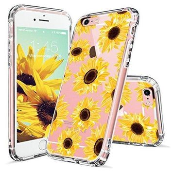DCCKV2S iPhone 6s Case, iPhone 6 Case for Women, MOSNOVO Floral Flower Sunflower Pattern Clear Design Transparent Plastic Hard Back Case with TPU Bumper Protective Case Cover for iPhone 6 6s (4.7 Inch)