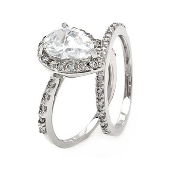 925 Sterling Silver Ladies Jewelry Pear Shape Cubic Zirconia Stones Ring Set Width: 13mm: Size: 5