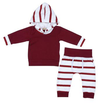 Girls Clothes Toddler Clothing Sets Infant Baby Boys Girls Wine Red Hoodies Tops+Stripe Pants Clothes Suits