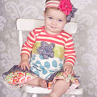 Giggle Moon Peace and Joy Romper for Baby Girls PREORDER