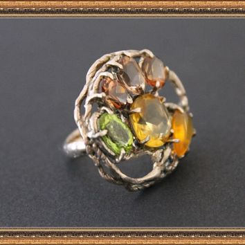 Ring St.Silver Imperial Topaz Opal Citrine Peridot