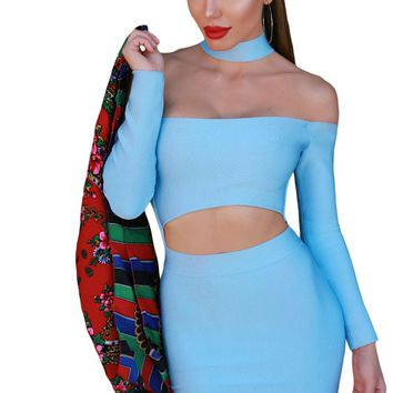 Chicloth Blue Choker Cut out Off Shoulder Long Sleeves Bandage Dress