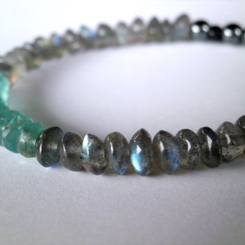 Labradorite Bracelet. Apatite. Blue Flash Labradorite Gemstone. Natural Gemstone Bracelet. Gemstone Jewelry Under 50. Minimalist Jewelry