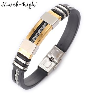 Match-Right Men's Leather Bracelets Metal Bracelet Cuff for Men Stainless Steel Bracelets Bangles Men's Wristband BR016