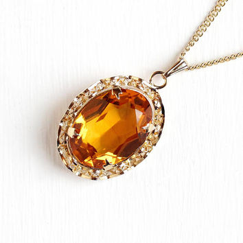 Vintage 12k Rosy Yellow Gold Filled Simulated Citrine Pendant Necklace - 1940s Orange Glass Stone Filigree November Birthstone Charm Jewelry