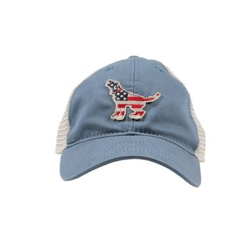 American Hound Trucker Hat in Lake Blue by Southern Fried Cotton