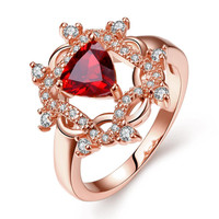 Rose Gold Plated Roman Design Inspired Ruby Ring