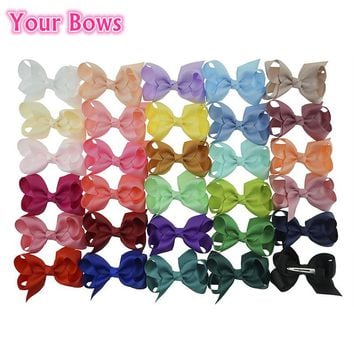 (40pcs/lot) 2016 New 3'' 30 Colors Boutique Hair Bows With Clip Big Bow Hairpins Hair Clips For  Girls Kids Hair Accessories
