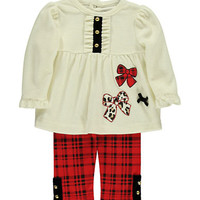 Hartstrings Baby Girls Velour Tunic with Printed Plaid Leggings