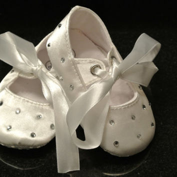 White Satin Rhinestone Baby Shoes, Baptism, Christening, Wedding Baby girl Toddler, Bling shoes White Satin Shoes,Birthday,Baby Ballet shoes