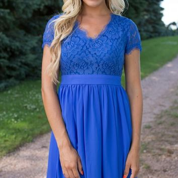 Every Heartbeat Lace Dress in Royal Blue