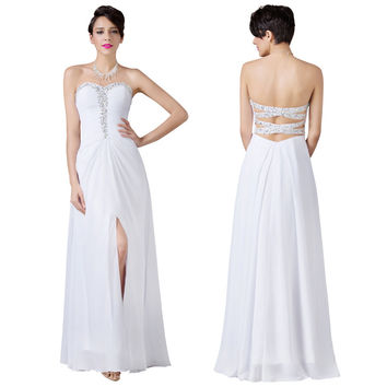 Strapless Split Front Chiffon Ball Gown white evening dresses long formal dress abendkleider 2016 Backless party dress cheap $40