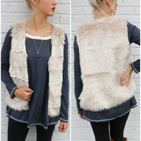 In Love & Lace Taupe Faux Fur Vest With Floral Lace Detail