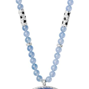 Panthère de Cartier High Jewelry necklace: Necklace - platinum, chalcedonies, round-shaped sapphire, sapphire eyes, onyx, brilliant-cut diamonds.