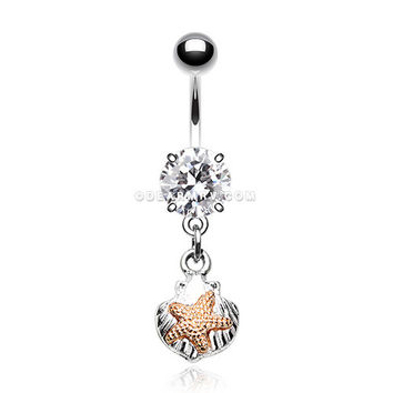 Vintage Starfish Shell Belly Button Ring (Clear)