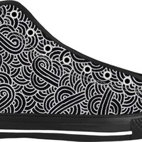 Faux silver and black swirls doodles Black High Tops