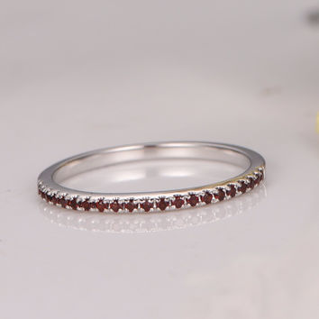 MYRAY Wedding Bands Garnet Engagement Ring Bezel Set Ring Art Deco Diamond Wedding Ring in 14k White Gold  Half Eternity Band