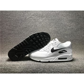 real picture nike air max 90 all white with black swash for mens running shoes