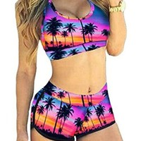 Women Floral Bikini Sports Swimwear Bathing Swimsuit 2 Piece (M)