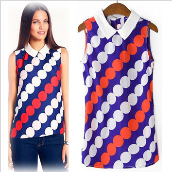 Patterned Pointed Flat Collar Sleeveless Shirt