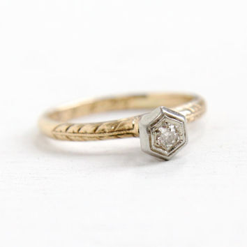Antique 14k White & Yellow Gold Art Deco Solitaire Diamond Ring - Size 5 1/2 Vintage Filigree Etched 1920s Raised Dated 1923 Fine Jewelry