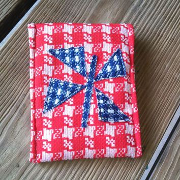 Envelope Bag / Clutch / Pouch / Purse Organizer / Vintage Polyester / Magnetic Closure / Butterfly / Red Blue Houndstooth