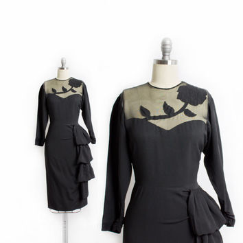 Vintage 40s Dress - Black Rayon Crepe Illusion ROSE Ruffle Cocktail 1940s - Small S