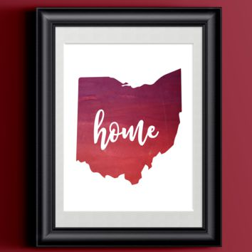 Ohio Home Watercolor Print | 8.5 x 11 | Wall Decor
