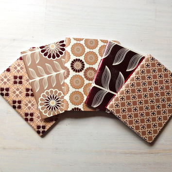 Bridesmaid Gifts: Set of 5 Notebooks, Floral, Red, Orange, Bridesmaid Journals, Bridesmaids Notebooks, Special, Unique, Favors, Wedding