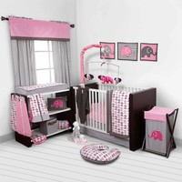Bacati Elephants 10-Piece Nursery in a Bag Crib Bedding Set - Bumper Free, Pink/Gray - Walmart.com