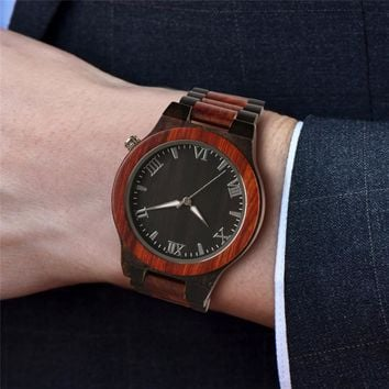 Men's Watch Round Vintage Bamboo Wood Case Luxury Natural Sport Wristwatch with Full Wooden Band Japanese Movement Roman Numeral