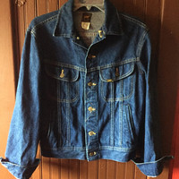 vintage 80s/90s lee medium wash denim jacket / button up blue jean jacket size 38 reg small/medium