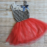Girls Striped Or Floral Tulle Spring Time Dresses!