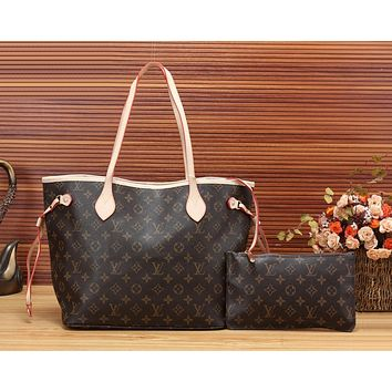 LV Women Shopping Leather Tote Handbag Shoulder Bag Purse Wallet Set Two-Piece