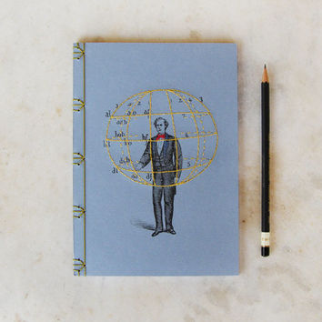 Manual of Gesture. Embroidered A5 Notebook. Anthropology Journal. Old Fashioned Men's Book. Blue Notebook. Vintage Sciences Art Journal