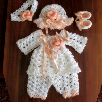White peach baby set Baby tunic hat booties  pants  infant clothes newborn outfit matinee  layette