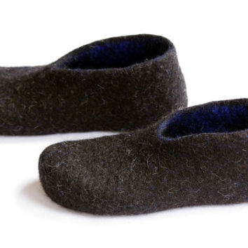 Felted wool clogs-felted slippers- boiled organic shoes- boiled wool slippers-black and blue slippers