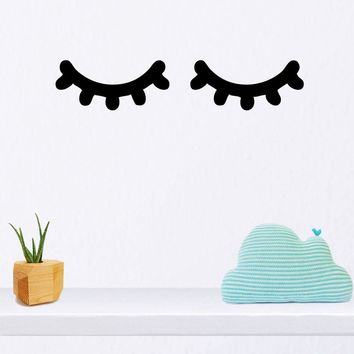 Sleepy Eyes Decal Eyelashes Nursery Vinyl Wall Art Sticker for Baby Room Bedroom Decor