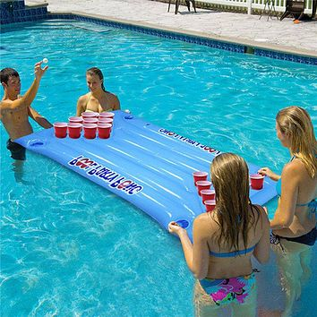 24 Cup Holder Inflatable Beer Pong Table Pool Float