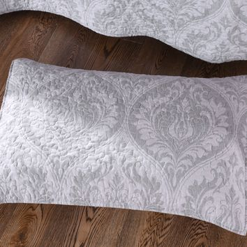 "Tache 2 Piece Matelasse Floral Austere Light Grey Moon Pillow Shams 20 X 30"" (TATB-300-199-PC)"