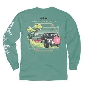 Go on an Adventure Long Sleeve Tee in Light Green by Lily Grace