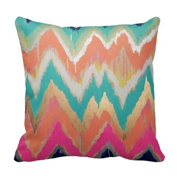 Colorful Bright Chevron Zig Zag Stripe Pattern Throw Pillows