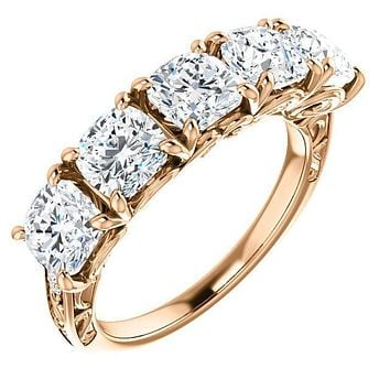 Estella Cushion Moissanite Filigree Scrolls Engagement Band