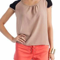 two-tone cap sleeve top $21.90 in BLACKIVORY KHAKIBLACK ROYALIVORY - Short Sleeve | GoJane.com