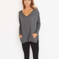 Slouchy V-Neck Sweater with Pockets