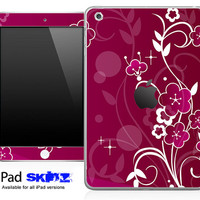 Burgundy Floral Skin for the iPad Mini, iPad 1st, 2nd, 3rd or 4th Generation