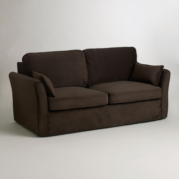 Chocolate Brown Velvet Loose-Fit Luxe Sofa Slipcover - World Market