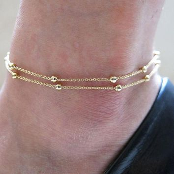 New Gold Silver Plated Layer Anklets Foot Feet Bracelets Chain Leg Jewelry